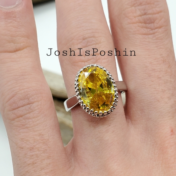 925 Sterling silver yellow citrine ring size 8